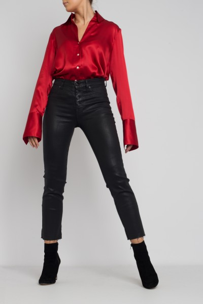 Seven Jeans Straight Crop Coated Slim Illusion